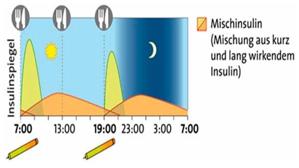 Konventionelle Therapie mit zwei Injektionen mit Mischinsulin. Metformin wird meist dazu gegeben, die Behandlung mit Sulfonylharnstoffe wird zu diesem Moment oft gestoppt. Quelle: © W&B/Ulrike Möhle.